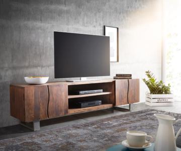 delife lowboard live edge 200 cm akazie braun 2 t ren 2 f cher fernsehtische baumkantenm bel. Black Bedroom Furniture Sets. Home Design Ideas
