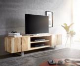 DELIFE Lowboard Live-Edge 200 cm Akazie Gebleicht 2 Türen 2 Fächer, Fernsehtische, Baumkantenmöbel, Massivholzmöbel, Massivholz, Baumkante, Wolf Live