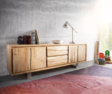 DELIFE Lowboard Live-Edge 200 cm Akazie Gebleicht 2 Türen 2 Schübe, Fernsehtische, Baumkantenmöbel, Massivholzmöbel, Massivholz, Baumkante, Wolf Live