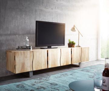 DELIFE Lowboard Live-Edge 220 cm Akazie Gebleicht massiv 3 Türen, Fernsehtische, Baumkantenmöbel, Massivholzmöbel, Massivholz, Baumkante, Wolf Live Ed