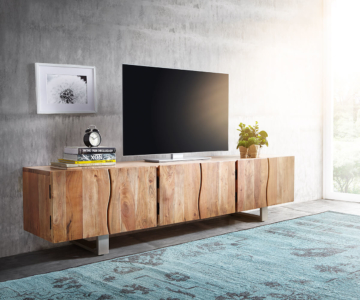 delife lowboard live edge 220 cm akazie natur massiv 3 t ren fernsehtische baumkantenm bel. Black Bedroom Furniture Sets. Home Design Ideas