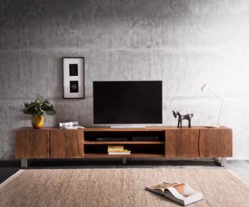 DELIFE Lowboard Live-Edge 300 cm Akazie Braun 2 Türen 2 Fächer, Fernsehtische, Baumkantenmöbel, Massivholzmöbel, Massivholz, Baumkante, Wolf Live Edge
