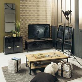 Roll-TV-Lowboard im Industrial-Stil aus Metall und Holz in Antikoptik, B 115cm Wayne