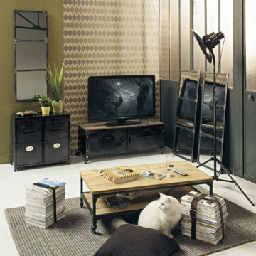 roll tv lowboard im industrial stil aus metall und holz in antikoptik wayne tv. Black Bedroom Furniture Sets. Home Design Ideas