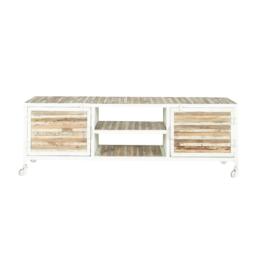 TV-Lowboard aus Metall und Holz, B 140cm, weiß