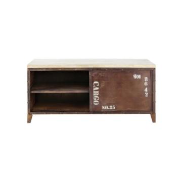 TV-Lowboard im Industrial-Stil aus Metall und Holz mit Rosteffekt, B 117cm