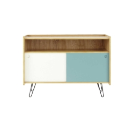 TV-Lowboard im Vintage-Stil aus Holz, B 105cm, weiß/blau