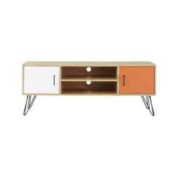 TV-Lowboard im Vintage-Stil aus Holz, B 130cm, weiß/orange