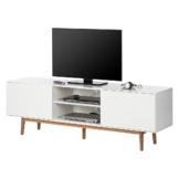 TV-Lowboard Lindholm - Weiß Dekor/Eiche massiv