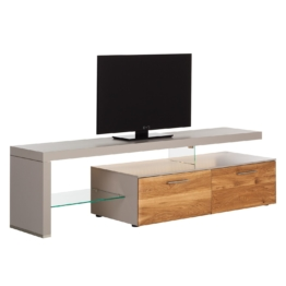 TV-Lowboard Solano I - Mit Beleuchtung - Asteiche / Platingrau - Mit TV-Bank links
