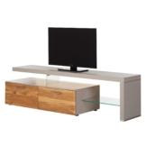 TV-Lowboard Solano I - Mit Beleuchtung - Asteiche / Platingrau - Mit TV-Bank rechts