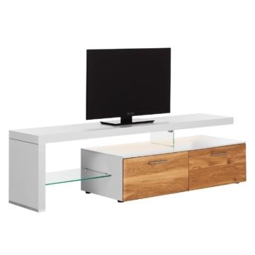 TV-Lowboard Solano I - Mit Beleuchtung - Asteiche / Weiß - Mit TV-Bank links