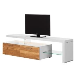 TV-Lowboard Solano I - Mit Beleuchtung - Asteiche / Weiß - Mit TV-Bank rechts