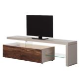 TV-Lowboard Solano I - Mit Beleuchtung - Nussbaum / Platingrau - Mit TV-Bank rechts