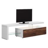 TV-Lowboard Solano I - Mit Beleuchtung - Nussbaum / Weiß - Mit TV-Bank links