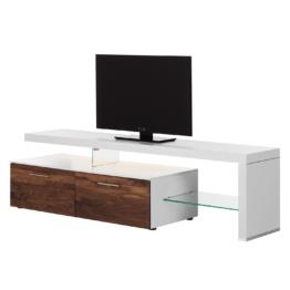TV-Lowboard Solano I - Mit Beleuchtung - Nussbaum / Weiß - Mit TV-Bank rechts