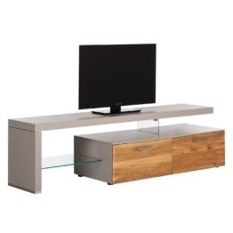 TV-Lowboard Solano I - Ohne Beleuchtung - Asteiche / Platingrau - Mit TV-Bank links