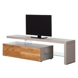TV-Lowboard Solano I - Ohne Beleuchtung - Asteiche / Platingrau - Mit TV-Bank rechts