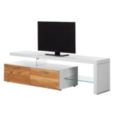 TV-Lowboard Solano I - Ohne Beleuchtung - Asteiche / Weiß - Mit TV-Bank rechts