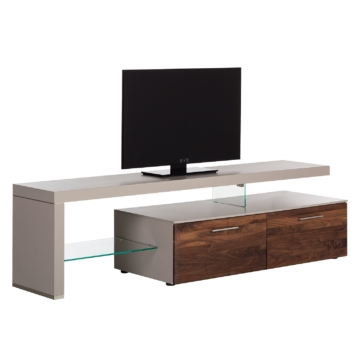 TV-Lowboard Solano I - Ohne Beleuchtung - Nussbaum / Platingrau - Mit TV-Bank links