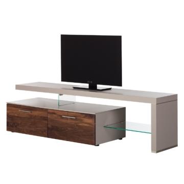 TV-Lowboard Solano I - Ohne Beleuchtung - Nussbaum / Platingrau - Mit TV-Bank rechts