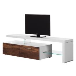 TV-Lowboard Solano I - Ohne Beleuchtung - Nussbaum / Weiß - Mit TV-Bank rechts