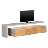 TV-Lowboard Solano II - Mit Beleuchtung - Asteiche / Platingrau - Mit TV-Bank links