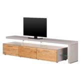 TV-Lowboard Solano II - Mit Beleuchtung - Asteiche / Platingrau - Mit TV-Bank rechts