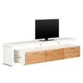 TV-Lowboard Solano II - Mit Beleuchtung - Asteiche / Weiß - Mit TV-Bank links