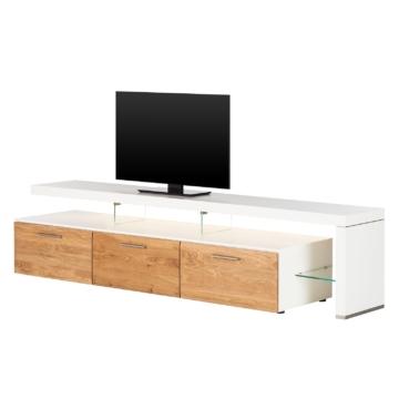 TV-Lowboard Solano II - Mit Beleuchtung - Asteiche / Weiß - Mit TV-Bank rechts