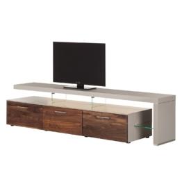 TV-Lowboard Solano II - Mit Beleuchtung - Nussbaum / Platingrau - Mit TV-Bank rechts