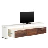 TV-Lowboard Solano II - Mit Beleuchtung - Nussbaum / Weiß - Mit TV-Bank links