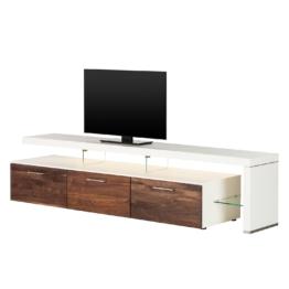 TV-Lowboard Solano II - Mit Beleuchtung - Nussbaum / Weiß - Mit TV-Bank rechts