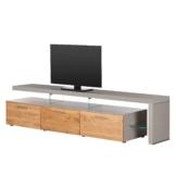 TV-Lowboard Solano II - Ohne Beleuchtung - Asteiche / Platingrau - Mit TV-Bank rechts