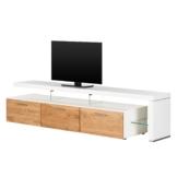 TV-Lowboard Solano II - Ohne Beleuchtung - Asteiche / Weiß - Mit TV-Bank rechts