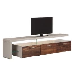 TV-Lowboard Solano II - Ohne Beleuchtung - Nussbaum / Platingrau - Mit TV-Bank links