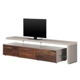 TV-Lowboard Solano II - Ohne Beleuchtung - Nussbaum / Platingrau - Mit TV-Bank rechts