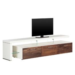 TV-Lowboard Solano II - Ohne Beleuchtung - Nussbaum / Weiß - Mit TV-Bank links