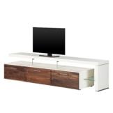 TV-Lowboard Solano II - Ohne Beleuchtung - Nussbaum / Weiß - Mit TV-Bank rechts